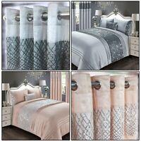 CHARLESTON Belle Maison Glitter Sequins Duvet Quilt Cover Set Bedding Blush Grey