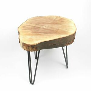 Large Handmade Alpine Live Edge Solid Wood Round Side Table With Hairpin Legs
