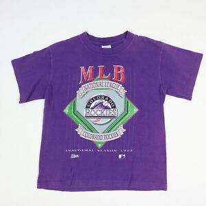 Vintage 1993 Colorado Rockies MLB Baseball T-Shirt USA Single Stitch Kids 10/12