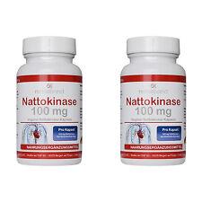 Nattokinase 100mg 180 Kapseln, Aktivität 2000 FU, Reinsubstanz vegan 2 Packungen
