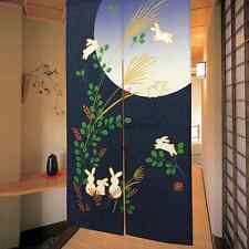 Lovely Moon and Rabbit Hanging Curtain Japanese Noren Blue Doorway Room Divider