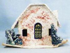Vintage Christmas House Scrub Trees Village Putz Train Display Red Glitter #44