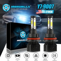 4-sides 9007 HB5 COB LED Headlight Kit 360000LM High Low Beam Bulbs 6000K White