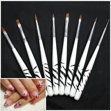 8x/set 3d painting drawing uv gel diy nail art brush pen salon manicure kit Jku