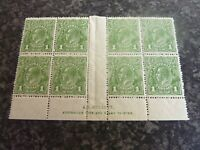 AUSTRALIA POSTAGE STAMPS SG86 PERF14 IMPRINT BLOCK OF 8 A.J. MULLETT MAINLY U-MM