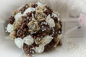 BRIDES BOUQUET IN CHOCOLATE/COFFEE AND IVORY