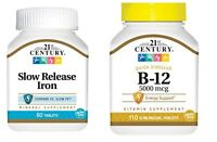 21st Century Slow Release Iron 60 Tablets  + B12 5000 mcg Sublingual 110 Tablets
