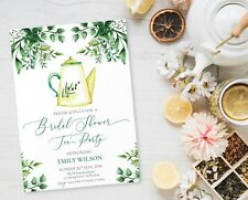 Printable Bridal Shower Tea Party Custom Greenery Invitation Personalised