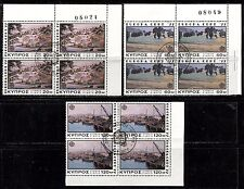 EUROPA CEPT PAINTINGS LANDSCAPES ON CYPRUS 1977 Sc 475-477 X4, VERY FINE USED