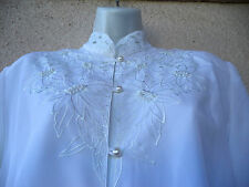 VTG 80s SECRETARY BLOUSE White Embroidered Flowers BEADS Victorian Edwardian L