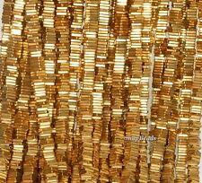 "4X1MM GOLD HEMATITE  GEMSTONE HEISHI SQUARE SLICE 4X1MM LOOSE BEADS 15.5"""