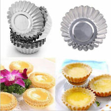 6x Stainless Steel Egg Tart Tray Cupcake Holder Cake Cookie Mold Baking Tools