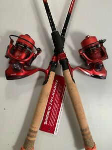Two Shimano 6½' Sojourn Rod & XF4000 (13+1 bb) Reel (Red Braid) Combos*
