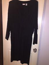 Spiegel Plus Size Dress 24W Black Long Sleeve Knee Length
