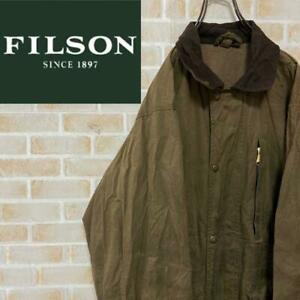 Filson oiled jacket faded khaki faux suede collar men's USA vintage used #M4698