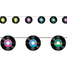ROCK AND ROLL PARTY RECORDS 50S BANNER BUNTING GARLAND