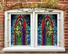 3D Arch Pattern I340 Window Film Print Sticker Cling Stained Glass UV Block Amy