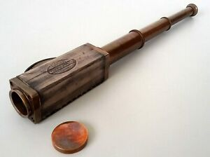 Nautical Brass Telescope with Leather Bounded Antique Vintage Maritime Decorativ
