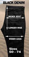 Big & Tall Black Denim Jeans - 5 Pockets - Greystone Sizes 50 to 74