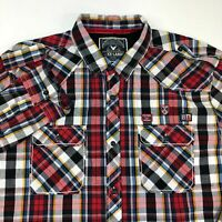 Company 81 Button Up Shirt Mens 2XL XXL Long Sleeve Red Plaid Casual 100% Cotton