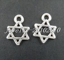100pcs Tibetan Silver Stars Pendants Charms 12.5x9mm zn21290