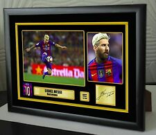 "Lionel Messi Barcelona Framed Canvas Tribute Signed ""Great Gift"""
