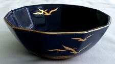 Otagiri, Navy Blue Seagull Candy / Nut Serving Bowl.Gold Trim and Graphics