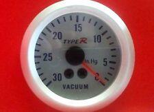 Manometre de Depression Vacuum PSI fond Argent eclairage Bleu diametre 52mm