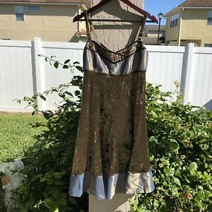 Hazel Hazel Hazel Dress Crushed Velvet Sequin Beaded Medium