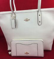 New Coach F58846 Leather City Zip Tote Handbag Purse Bag Chalk White + Wallet