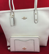 New Coach F58846 Leather City Zip Tote Handbag Purse Bag Chalk White + Wallet