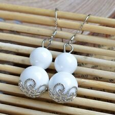 Elegant 925 Sterling Silver WHITE Natural Stone Drop Dangle Earrings Jewelry UK