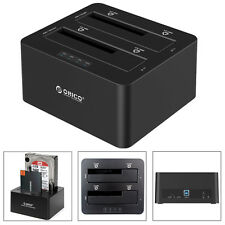 "ORICO Dual-Bay USB3.0 2.5"" 3.5"" SATA SSD HDD Hard Drive Clone Docking Station US"