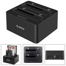 "ORICO Dual-Bay USB3.0 2.5"" 3.5"" SATA SSD HDD Hard Drive Clone Docking Station US"