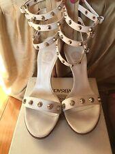 Versace White Studded Triple Ankle Strap Platform Heels size 38