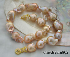 "18"" 28mm baroque pink reborn keshi pearl necklace"