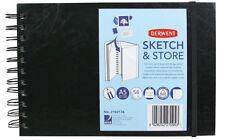 Derwent Sketch et stocker A5 paysage arrière dur carnet de croquis avec poche de rangement