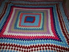"""Crocheted Square Multi Coloured Blanket/Throw - 50.5""""/12cms Square - BNWOT"""