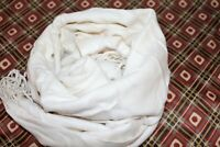 Big W Brand Off White Raw Hem Rectangle Neck Scarf w/ Fringe One Size BNWT #ORA1