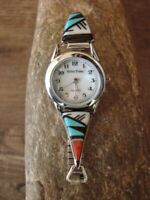 Navajo Indian Sterling Silver Turquoise Coral Inlay Watch