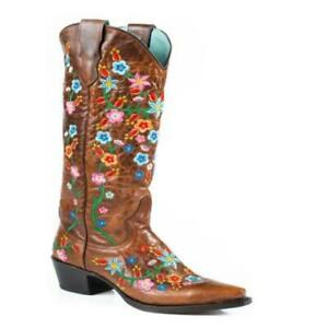 Fashion Women's Round Toe Floral Embroidery Knee High Boots Block Heels Shoes