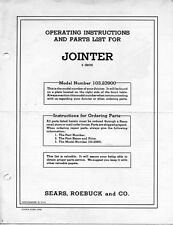 "1950 Craftsman 103.23900  6-1/8"" Jointer Operating Instructions and Parts List"