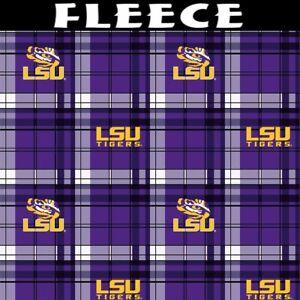 NCAA Louisiana State University Plaid Fleece Fabric by the Yard