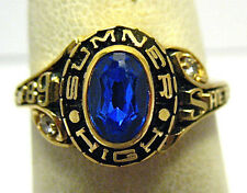"GOLD SUMNER HIGH SCHOOL RING SIZE 5.75 BLUE STONE 1989 ""SHERRIE"" SYBOLL"