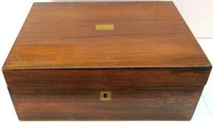 Antique Mahogany Writing Slope With Brass Inlay