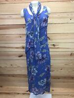 Sacred Threads Dress Small/Medium Floral Sleeveless Long Tiered Rayon Blue B68