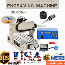 USB Port 4 Axis 3020 CNC Router Engraver 3D Cutter Drilling Milling Machine VFD