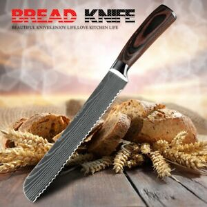 8In Damascus Pattern Stainless steel Bread Cheese Cake Kitchen Knife Tool