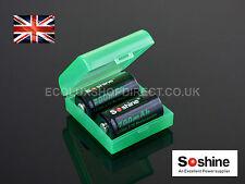 2x Soshine 16340 700mah Li-ion Batteries 3.7v Button Top Unprotected Rc123 Case