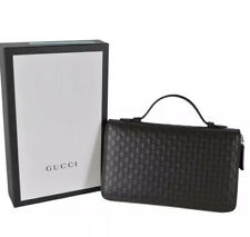 GUCCI 449246 Large Brown Leather GG Guccissima Double Zip Travel Wallet NEW